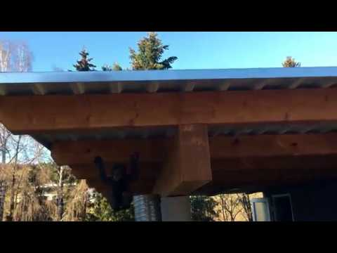Монтаж опорной колонны для навеса от гаража
