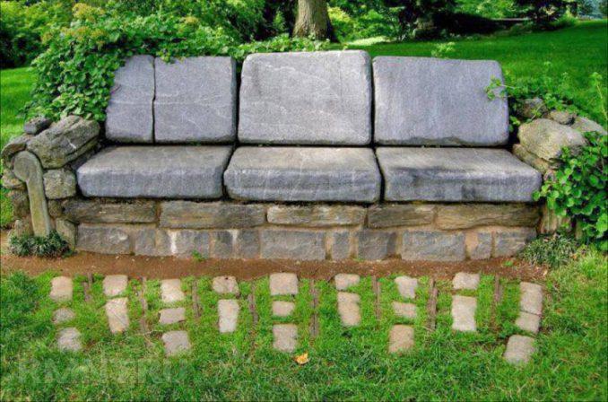 19-678x448 Лавочка для дачи - 150 фото идей деревьяных и металических дачных лавочек и скамеек