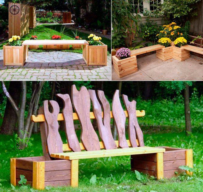 3-2-678x642 Лавочка для дачи - 150 фото идей деревьяных и металических дачных лавочек и скамеек
