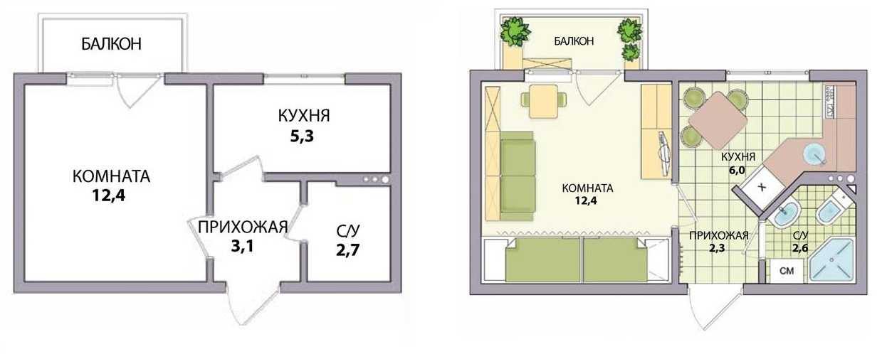 Перепланировка хрущевки: фото до и после, 1, 2, 3, 4 комнатн.