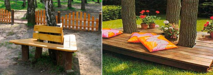7-1-678x241 Лавочка для дачи - 150 фото идей деревьяных и металических дачных лавочек и скамеек