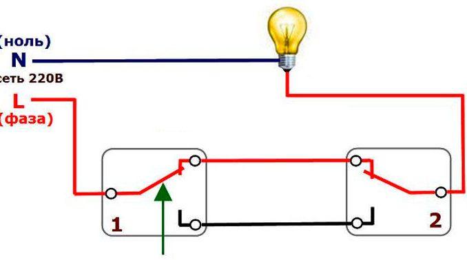 Схема подключения <u>как сделать проходной переключатель</u> проходного выключателя